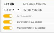 Betaflight 4.2 Frecuencia de Gyro Fija