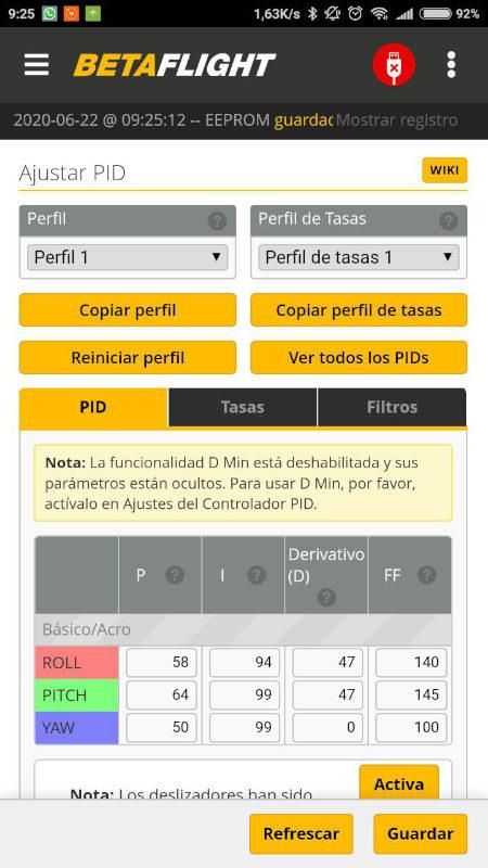 Nueva App Betaflight PID